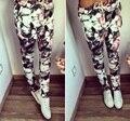2016 Nuevo Verano Pantalones Sexy Mujeres Flor de Impresión de La Vendimia Pantalones Casuales Suelta de Cuerpo Entero de Algodón Pantalones de Cintura Elástica