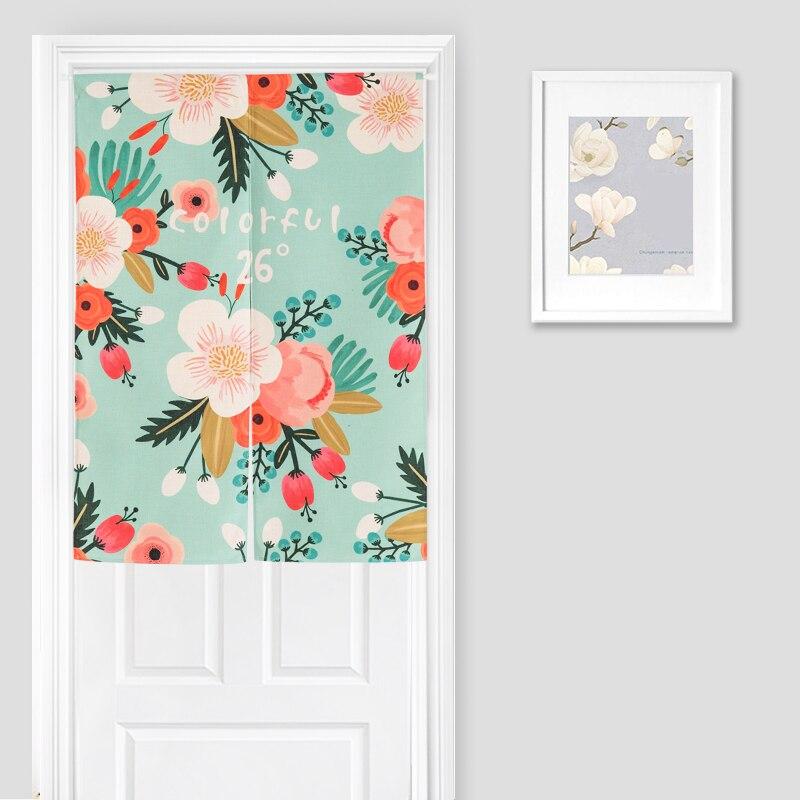 Beau rideau de porte imprimé Floral pour cuisine/chambre Style Pastoral japon Noren rideau tapisserie café/décor à la maison diviseur