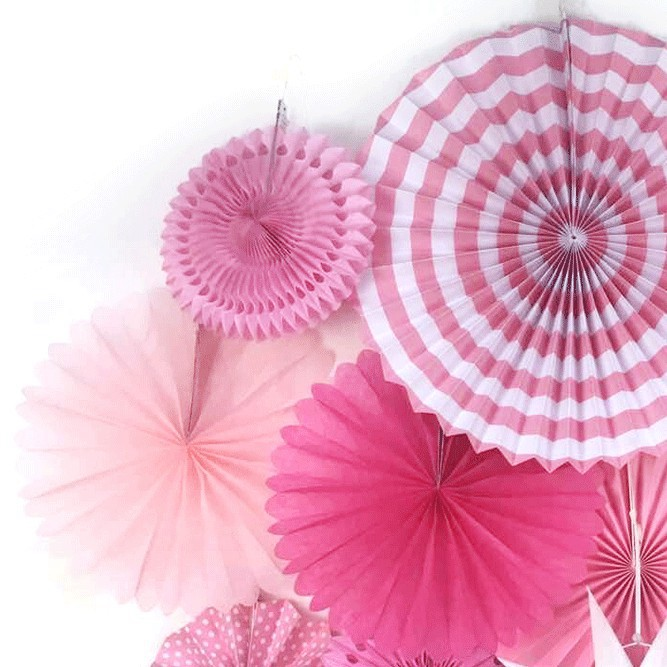 13pcsset pink theme party supplier paper fan hanging decorations paper rosettes backdrop birthday bridal
