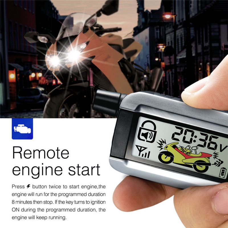 2-way Motorcycle Alarm LCD Emitter Remote Start Engine Anti-theft System 986XO With Alarm Speaker Backup Battery цена 2017