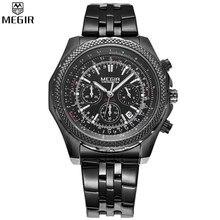 MEGIR Men Chronograph Multifunction Watches Fashion Casual Luxury Full Steel Watch Dress Watch Automatic Date Quartz
