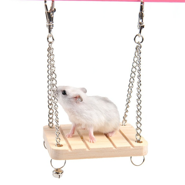 New 2017 Wooden Hanging Swing Fun Toy For Pet Hamster Mouse Gerbil Rat Small Parrot Bird