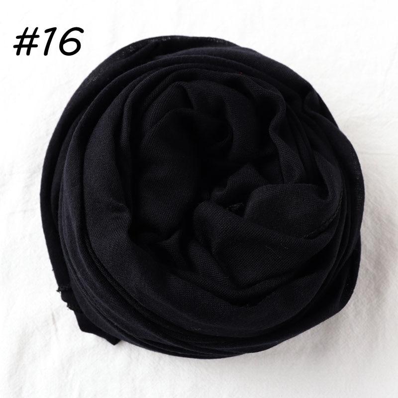 Один кусок Хиджаб Женский вискозный Джерси-шарф Мусульманский Исламский сплошной простой Джерси хиджабы Макси шарфы мягкие шали 70x160 см - Цвет: 16 black