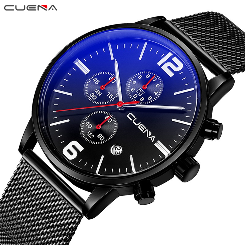 CUENA Mens Watches Top Brand Luxury Stainless Steel Waterproof Quartz Wristwatches Relogio Masculino Fashion Male Clock Relojes men fashion quartz watch mans full steel sports watches top brand luxury cuena relogio masculino wristwatches 6801g clock