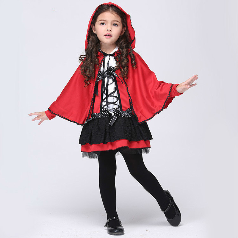 Red Devil Cosplay Costumes Halloween Girl Cloak Dress Children Dancing Skirt sets Kid Carnival Party Fantasy Fancy Show Clothing image