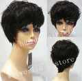 Custom Brazilian Hair wigs Short Curly Natural Black / very dark Brown Elegant 100% Hair Wigs free shipping