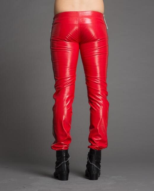 Hombres Diseño Primavera Medida Pantalones Cremallera Cintura Los 2019 Pu Nueva La A De 39 Negro rojo 28 Personalidad Caliente Moda Baja nqCvpX