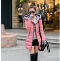 Estilo coreano más mujeres de la moda de invierno de Algodón abrigo con capucha de manga larga medio largo abajo chaqueta delgada Capa Caliente Engrosamiento G1789
