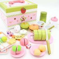 Игрушки для маленьких детей клубника моделирование послеобеденный Чай с Комплект Еда Кухня деревянный Игрушечные лошадки десерт торт Роле