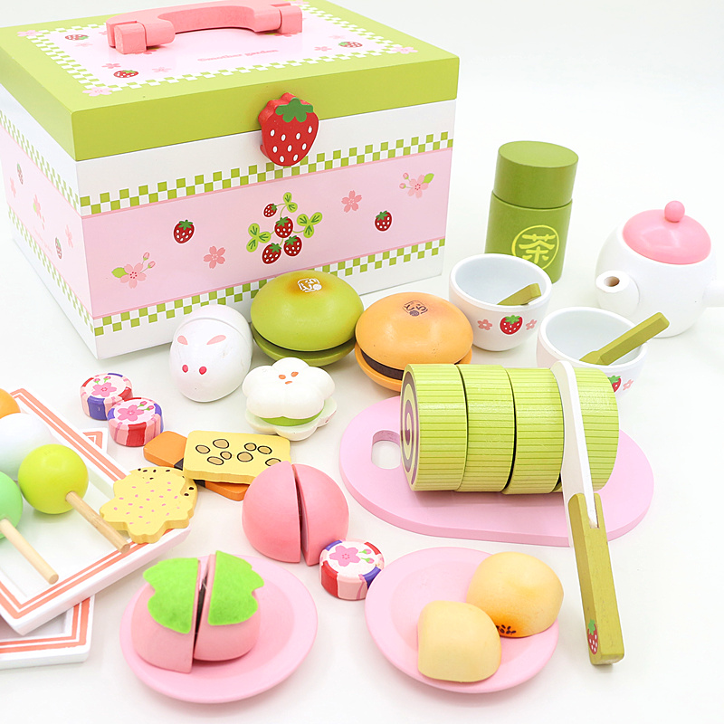 wooden colorful disassembly gas stove puzzle simulation baby kitchen kitchenware children s home toys assembled toys Baby Toys Strawberry Simulation Afternoon Tea Cut Set Child Food Kitchen Wooden Toys Dessert Cake Pretend Play Birthday Gift