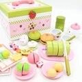 Brinquedos do bebê Simulação Morango Chá Da Tarde Set Corte Comida Criança Brinquedos De Madeira Da Cozinha Pretend Play Presente de Aniversário Do Bolo De Sobremesa
