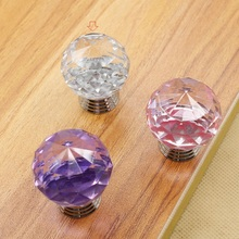 Useful 40mm Round Crystal Glass Alloy Door Drawer Cabinet Wardrobe  Transparent Pull Handle Knobs Clear Beautiful