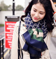 Europe and the United States wild Lingge striped wool scarf women warm double - sided long shawl scarf