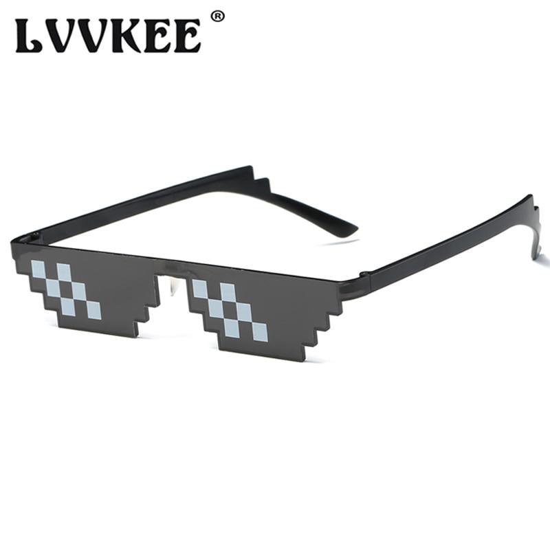 Hot Sell Classic Thug Life Deal With It Sunglasses Rectangle Men 8 Bits Mosaic Pixel Sun Glasses For Women Lunette De Soleil