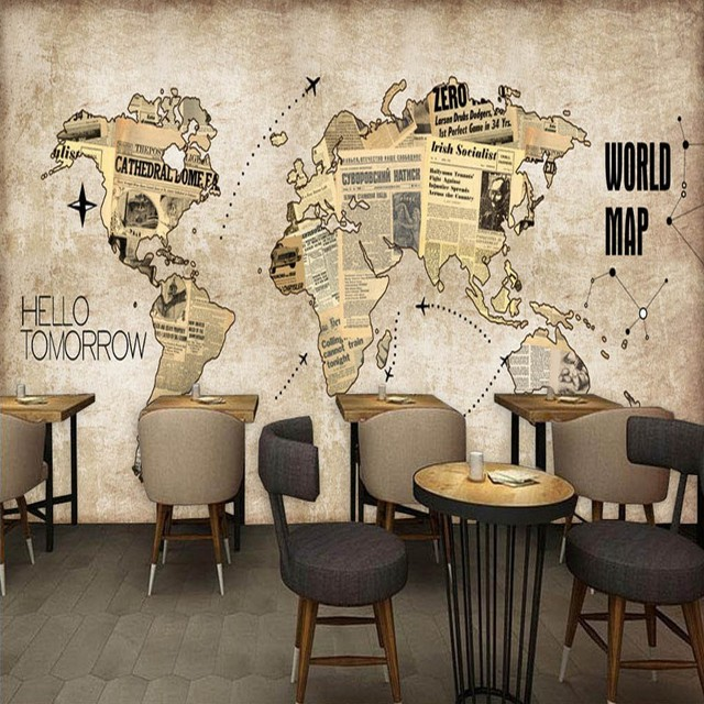 Custom photo wallpaper europe the united states retro world map custom photo wallpaper europe the united states retro world map newspaper mural bar coffee shop back gumiabroncs Gallery