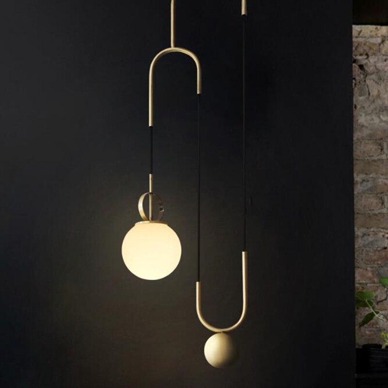 Nordic Modern Golden Glass Ball LED Pendant Light for Dining Room Restaurant Bedroom Living Room Decorate Hanging Lamp Fixtures in Pendant Lights from Lights Lighting