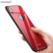 YWEWBJH Luxury Tempered Glass Phone Case For iPhone X 10 7 8 6 6S PLus XR XS Max Soft TPU Protective Back Cover Cases