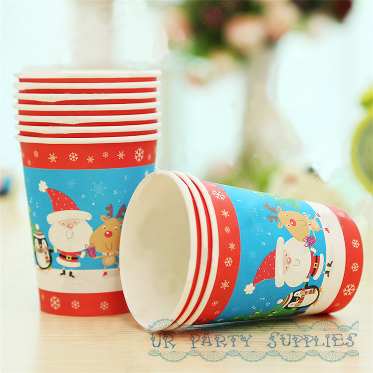 Free Shipping 50pcs Vintage Paper Cups Hallmark Christmas Santa Party Drinking Cups Snowflake Santa Man Penguin Designs