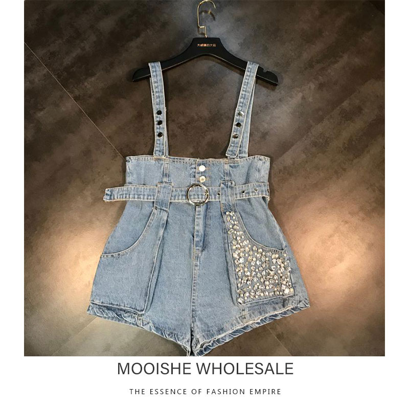 2019 Summer New Fashion Pocket Bead Belt Wash Water Denim Strap   Shorts   Female Overalls