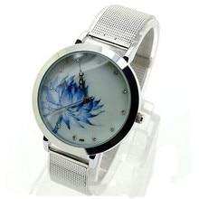 2017 Hot Sale New Fashion  Women Blue Lotus Stainless Steel Mesh Quartz Wrist Watch