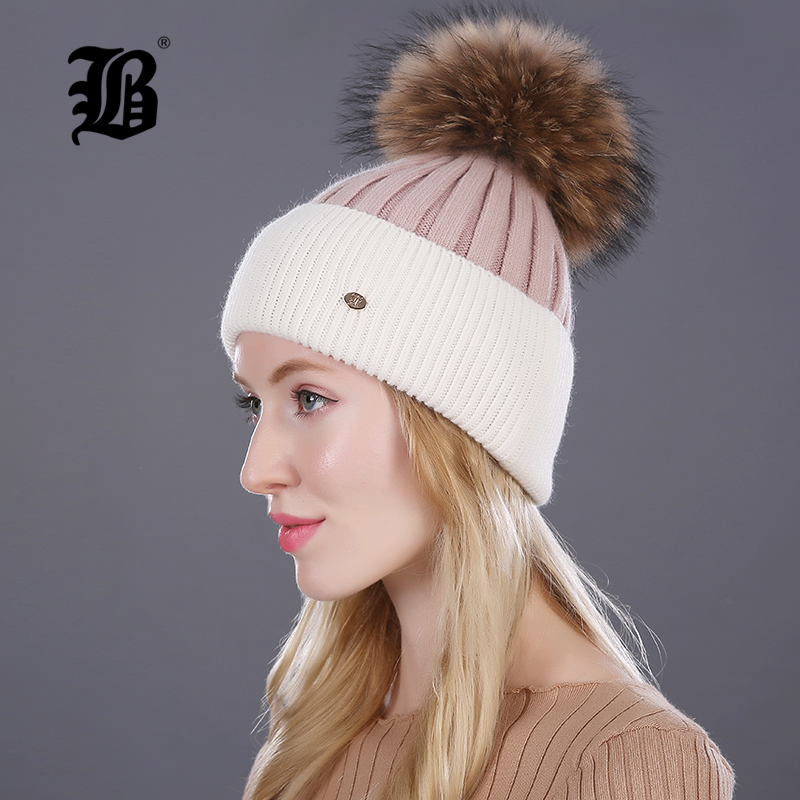 [FLB] Winter hat for women knitted wool lady beanies cap natural raccoon fox fur pompom hat Patchwork female casual skullies tt tf ths 02b hybrid style black ver convoy asia exclusive