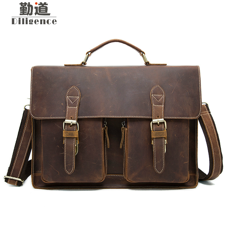 Crazy Horse Genuine Leather Retro Classic Men Handbag Shoulder Messenger Bag OL Business Laptop Bag Briefcase joyir men briefcase real leather handbag crazy horse genuine leather male business retro messenger shoulder bag for men mandbag