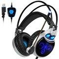R8 sades headset jogos de computador fone de ouvido usb virtual 7.1 surround sound cancelando com microfone jogos de luzes led para pc portátil