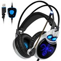 SADES R8 Computer Gaming Headset Headphone USB Virtual 7.1 Surround Sound Canceling with Mic Led lights for PC Laptop Games