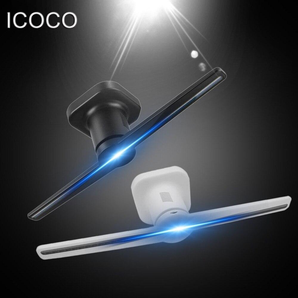 Icoco led proyector holográfico portátil holograma reproductor 3D holográfica Exhibición del holograma único proyector negro/blanco