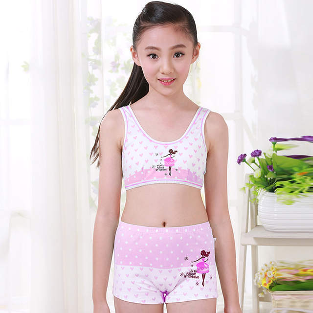 d36541c70f placeholder Girls Cosy Undies Puberty Children Teenagers Student Sport Set  Pretty Girl Cotton Underwear Set Training Bras