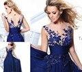 2017 Vestido De Noche Noite Ver Através Azul Royal Bordado Longo Prom Vestido de baile Vestidos de Noite Vestido de Festa À Noite