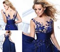 2017 Vestido De Noite vestidos de Noche Opacidad Royal Bordado Azul Baile Vestidos Largos Vestidos de Noche Del Partido Del Vestido de Baile Vestido de Noche