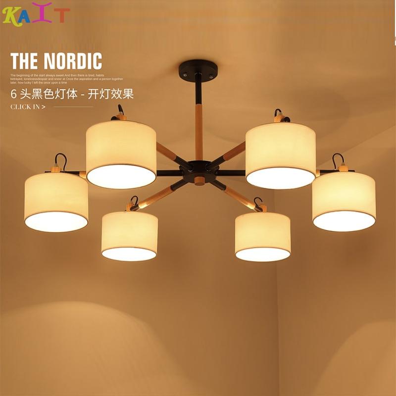 փայտե ջահի լամպ, ճաշասենյակի համար Nordic պարզ փայտի արվեստի ջահ, լուսավորություն ժամանակակից AC 110V-260V Ննջասենյակի տնային լամպեր