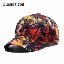 ae5d81db3e1 Unisex Hawaii Coconut Palm Tree Series Print Snapback Hat Vintage  Adjustable Baseball Cap Fashion Brand Casual