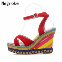 Summer Wedges Shoes Woman Sandals Bohemia Rainbow Espadrilles Sexy High Heels Platform Sandals For Women Sandalias Mujer 2019