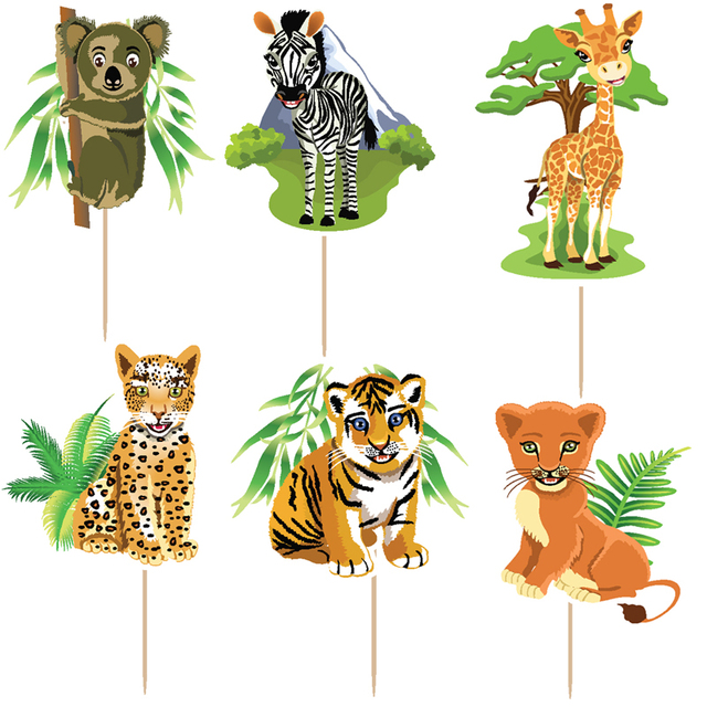 72pcs 6 designs jungle forest animal cake Toppers Picks Kid\'s ...