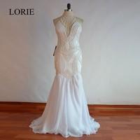 Халат De Soiree роскошный жемчуг Белый Русалка вечернее платье 2017 Vestido Longo Элегантные Длинные свадебные платья для женщин