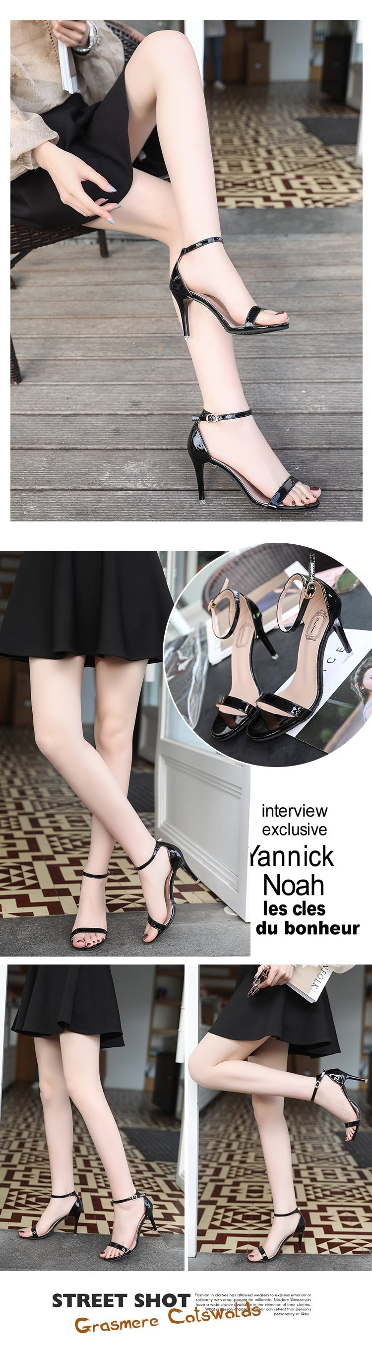 ORATEE Fashion Ankle Strap Women Casual Sandals Open Toe Summer High Heel Shoes Buckle Ladies Office Work Sandalias Shoes