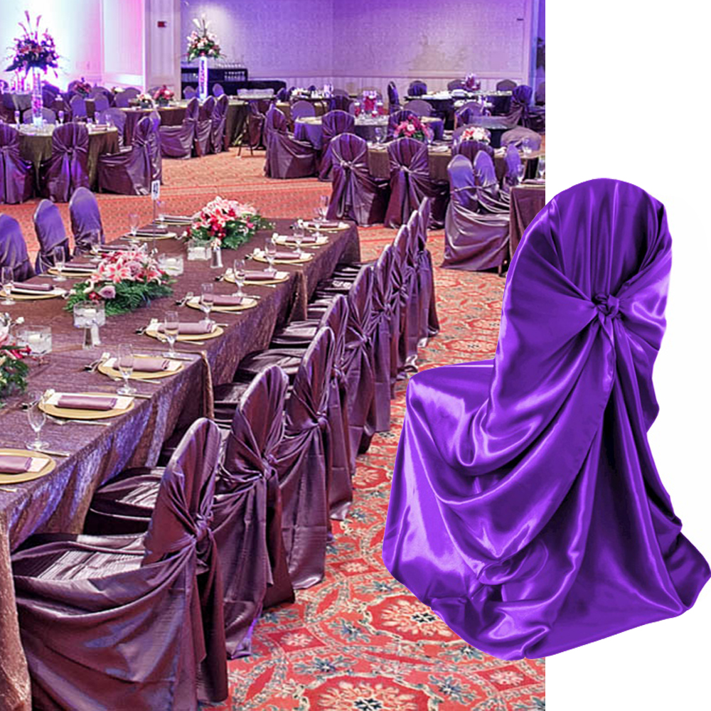 1 Pcs Self Tie Satin Chair Cover Wedding Banquet Hotel