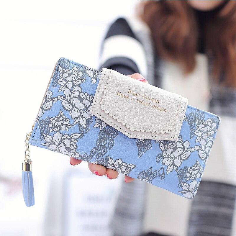 Women Wallet Multifunctional Zipper Purse Long Style Closure Huge Capacity Fashion Prints Handbag Tassels Money Bag More Card Sl
