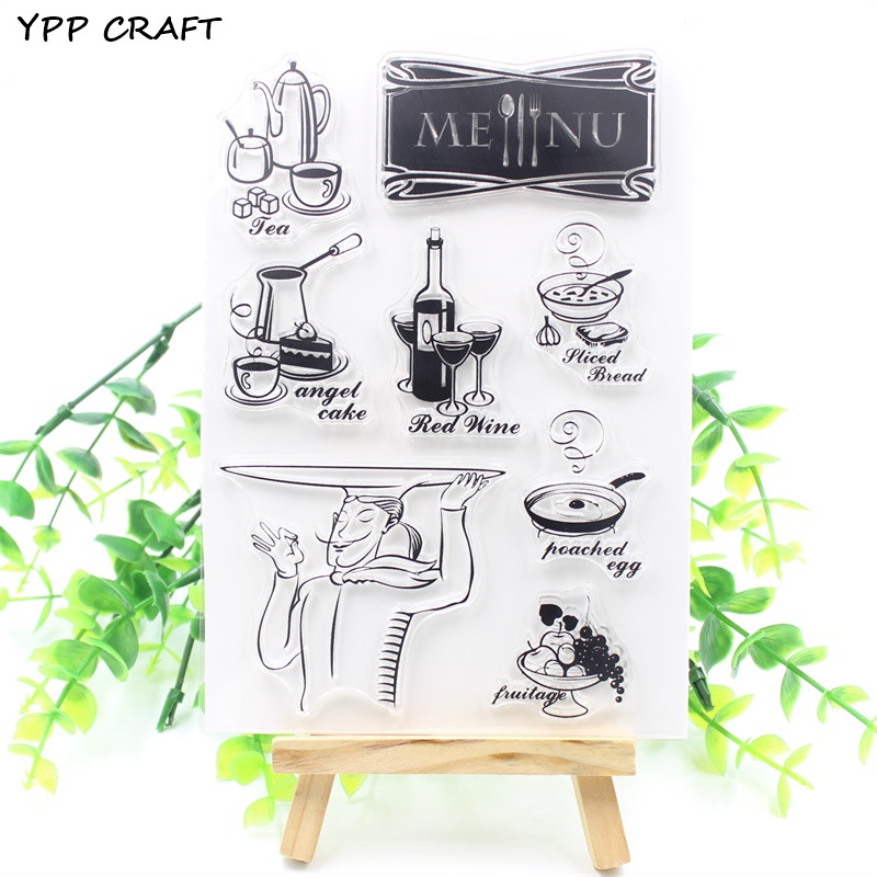 YPP CRAFT Menu Transparent Clear Silicone Stamps for DIY Scrapbooking/Card Making/Kids Fun Decoration Supply