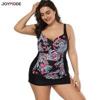 JOYMODE Swimsuit Women 2018 Swimwear Plus Size Two Pieces Floral Printed With Skirt Retro Vintage Bathing