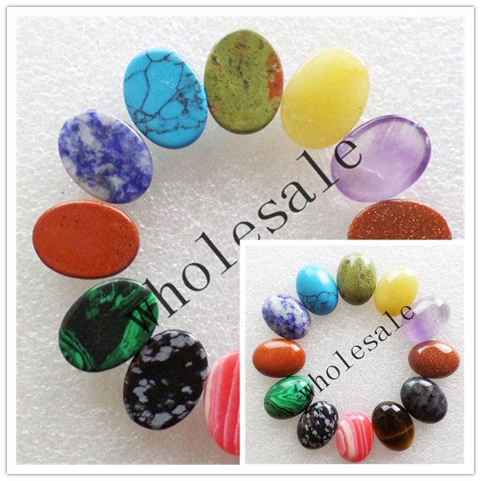 (12 pieces/lot) Wholesale High Quality Natural Mixed Stone Oval CAB Cabochon for jewelry Accessories18X25X6mm Free Shipping J26
