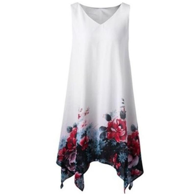 Plus Size 5XL Vintage Floral Print Women Dresses Sleeveless V-Neck Irregular Hem Robe Female Summer Dress WS8723W