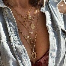 Boho Hamsa Cross Hemp Pendant Necklace Heart Rose Flower Gold Chain Multi Layered Necklace For Women Choker Bohemian Jewelry fashion cross pendant multi layered decussate body chain for women