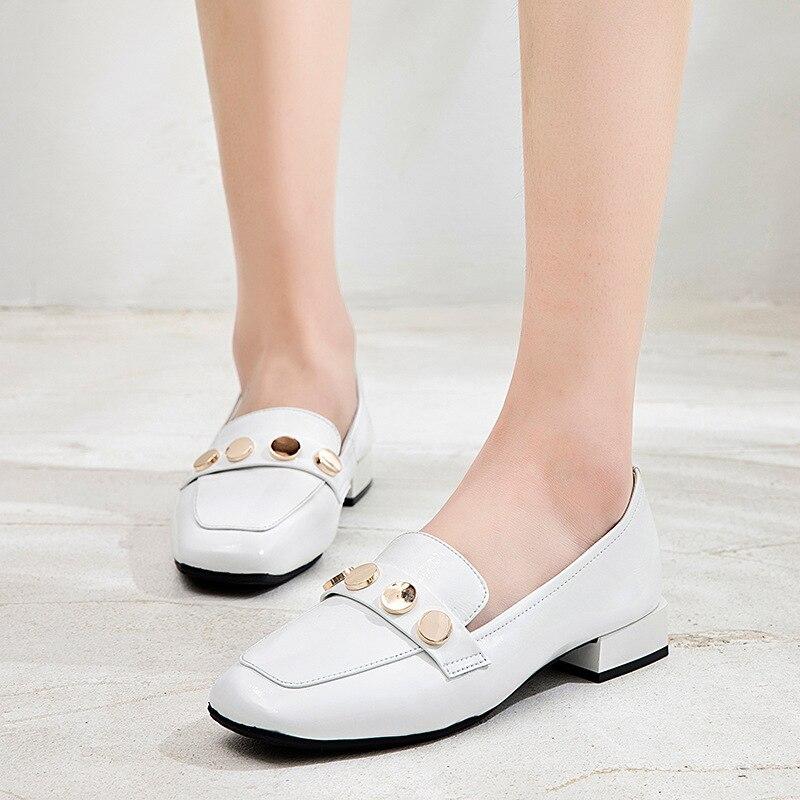 Solide Sauvage Noir Simple Métal Décoratif Nouvelle blanc Cuir Femmes En 2019 Décontractées Printemps Mode Plates Chaussures Couleur Confortable wI7AAaqxt