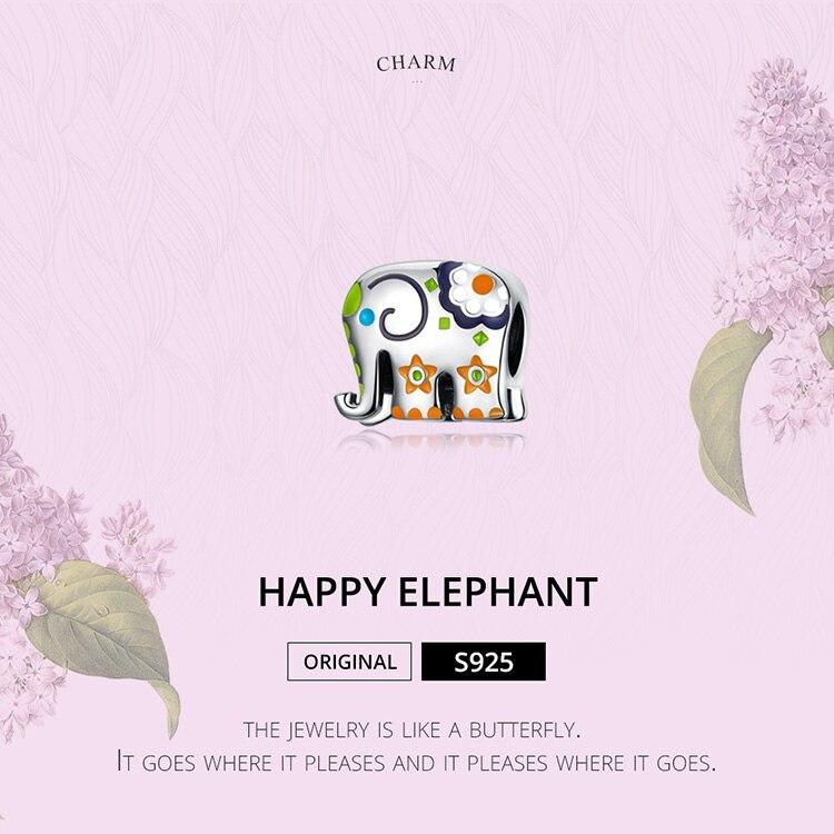 HTB1badYXbj1gK0jSZFOq6A7GpXa4 WOSTU Colorful Happy Elephant Beads Genuine 925 Sterling Silver Charms Fit Original Bracelet Pendant Jewelry Gift CTC095
