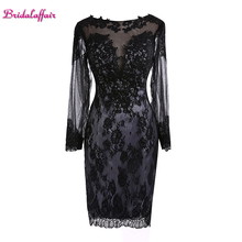 KapokBanyan Real Photo Black Lace O Neck Prom Dresses 2017 Long Sleeve Knee Length Appliques Party Gown Vestido de festa