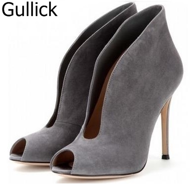 Women Solid Color Flock Leather V Cut Ankle Boots Sexy Peep-toe High Heels Stiletto Motorcycle Boots Suede Vamp Shoes Free Ship sexy women boots solid flock suede zip high heels boots lady stiletto pointed toe ankle boots martin boot red white black