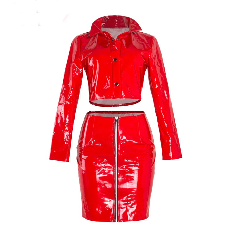 Fashion Red Club Two Piece Set Women 2017 Autumn Winter PU Leather Party Fashion Sets Crop